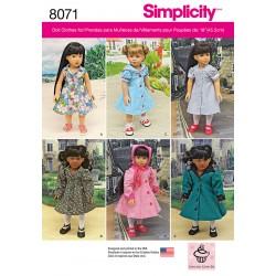 Dukketøj Frakke, kyse og kjoler Simplicity snitmønster 8071 OS
