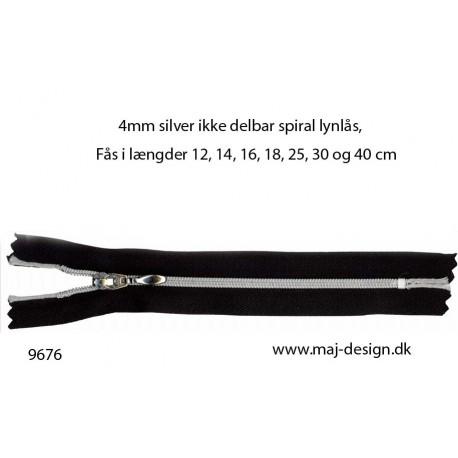 4mm silver ikke delbar spiral lynlås