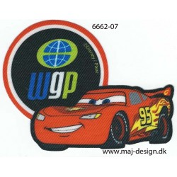 Cars McQueen WGP Printet strygemærke 9,5x7 cm