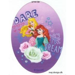 Disney prinsesser Tornerose og Ariel Printet strygelap oval 11x8 cm