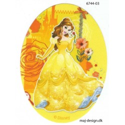 Disney prinsesse Bell Printet strygelap oval 11x8 cm