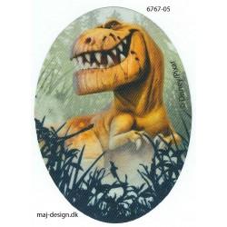Den gode Dinosaur Printet strygelap oval 11x8 cm