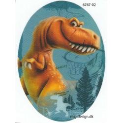 Den gode Dinosaur Printet strygelap oval 11x8cm