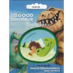 Den gode dinosaur Arlo og Tot broderet strygemærke Ø 6 cm