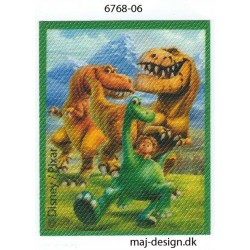 Den gode dinosaur Arlo, Tot og Bruno Printet strygemærke 7x5,5 cm