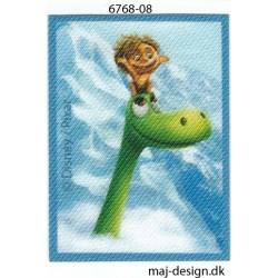 Den gode dinosaur Tot og Arlo Printet strygemærke 7x5 cm