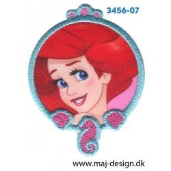 Disney Prinsesse Ariel Ø 7,5 cm. Broderet strygemærke