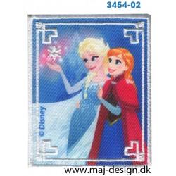Frozen Anna og Elsa 7,5x6,5 cm. Broderet strygemærke