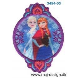 Frozen Anna og Elsa 8,5x6 cm. Broderet strygemærke