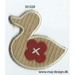 And med rød blomst 4,5x4,5 cm strygemærke