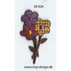En buket blomster 4,5x2,5 cm strygemærke