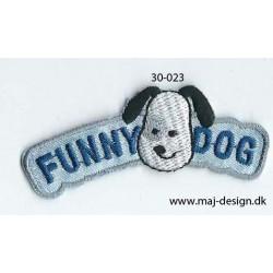 Funny Dog 6x2 cm strygemærke