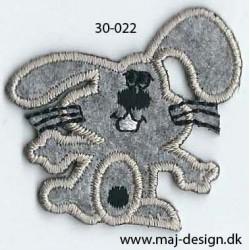 Grå kanin 4,5x4,5 cm strygemærke