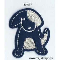 Hund blå/hvid strygemærke 5x4 cm