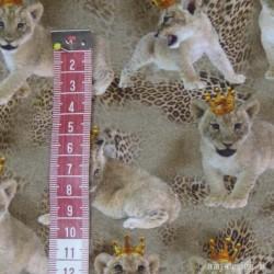 Løve unge m/krone Digital print jersey metervare
