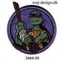 Teenage Mutant Ninja Turtles - Broderet eller printet strygemærke med Teenage Mutant Ninja Turtles er de fire muterede skildpadder Donatello, Leonardo, Michelangelo og Raphael Sådan sætter du strygemærket på. Indstil strygejernet på bomuldstemperatur. Placerstrygemærket på det ønskede sted. præs motivet under strygestykket i 20 - 30 sek. gentag på bagsiden i 20 - 30 sek. Lad det køle af, tjek herefter om det sider fast, eller gentag processen en gang til. Vask 40°
